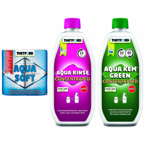 Thetford AQUA SOFT 4er + Rinse Konzentrat 750ml + Kem Green 750ml